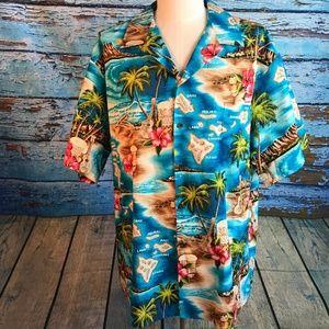 Other - Vintage RJC Hawaiian  Shirt Men 3X Map Flowers